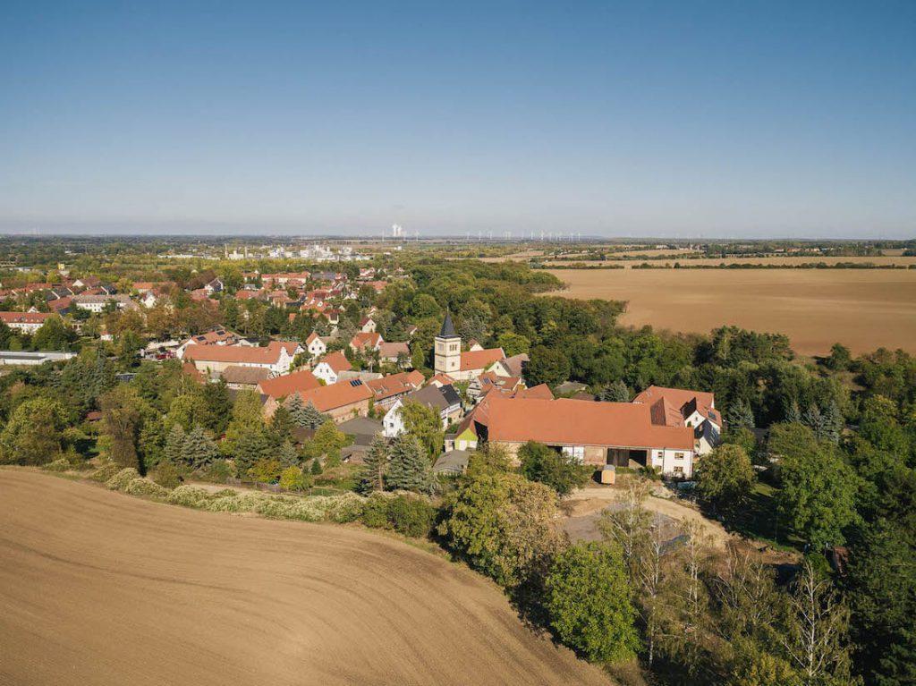 Luftbild alte Scheune von Westen