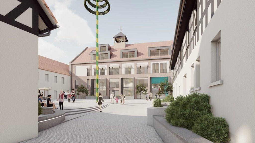 Visualisierung neues Wohnhaus, Hofansicht