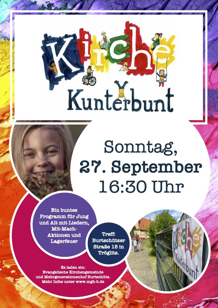 Kirche Kunterbunt am 27.9. in Burtschütz